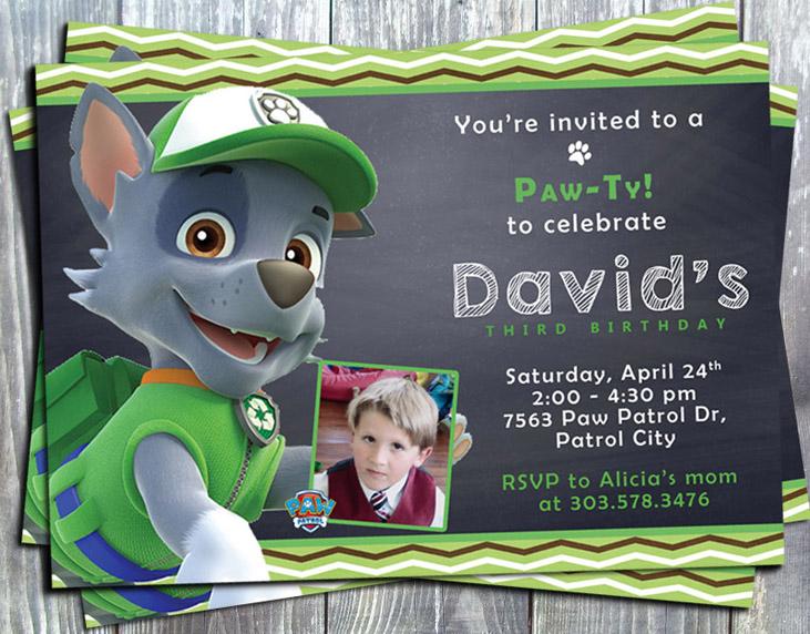 Paw Patrol Rocky Birthday Party  Invitation - Printed