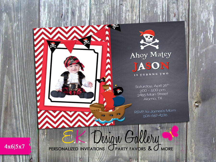 Pirate Birthday Party Ahoy Matey Personalized Invitation - Printed