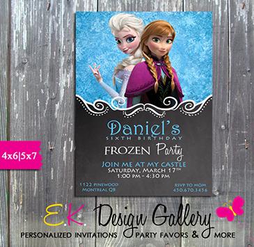 Disney Frozen Anna Elsa Birthday Party Personalized Invitation - E-File