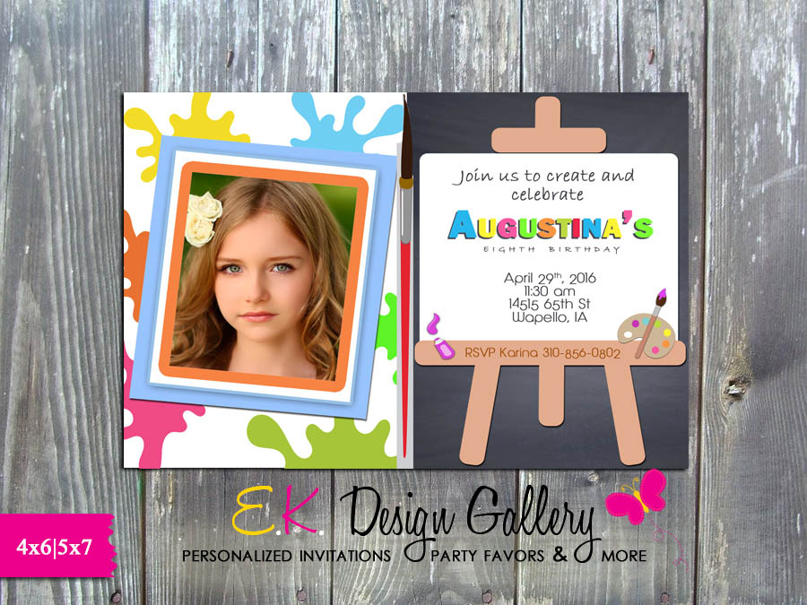 Painting Party Invitation Art Birthday Arts and Crafts Birthday Party Invite - Printed