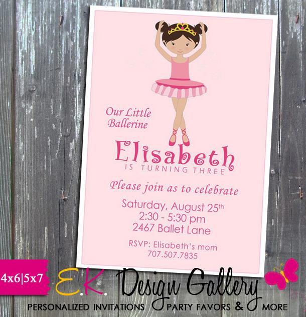 Ballerina Dancer Birthday Party Personalized Invitation - E-File