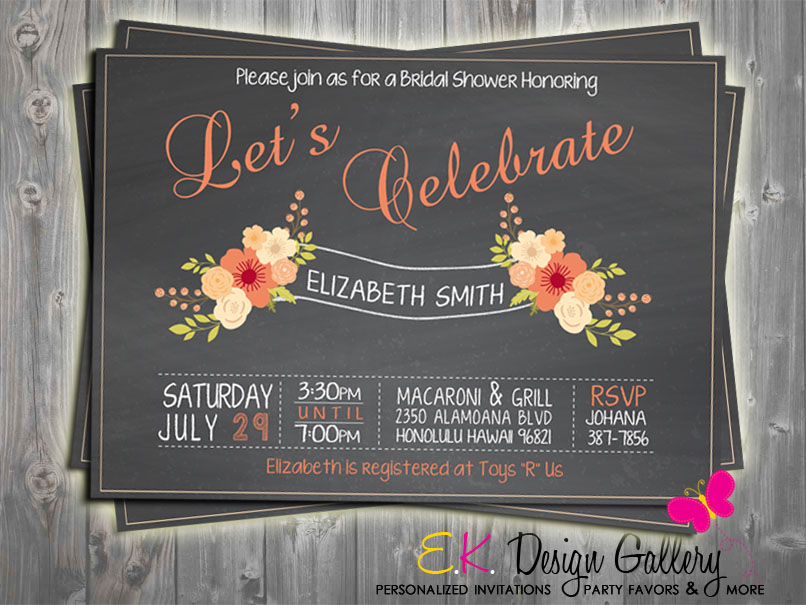 Bridal Shower Flower Party Invitation - Printed