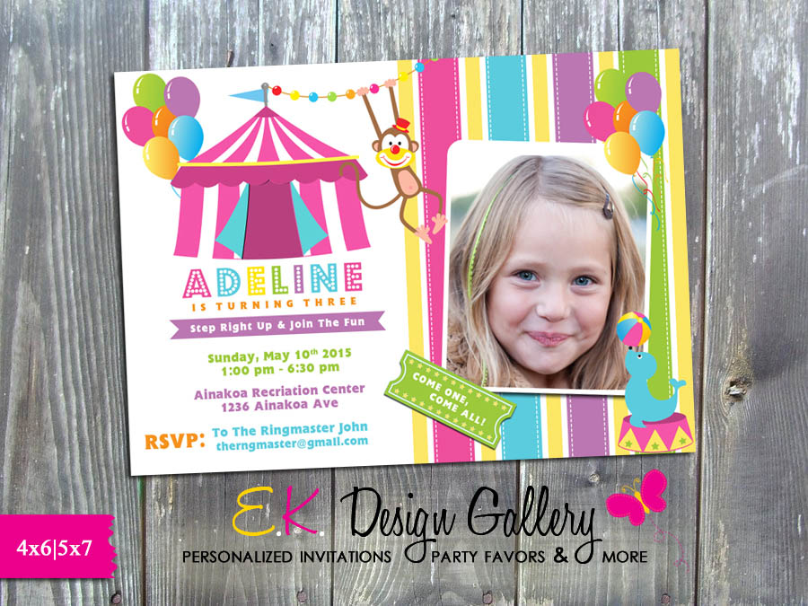 Carnival Circus Girl Birthday Party Invitation - Printed