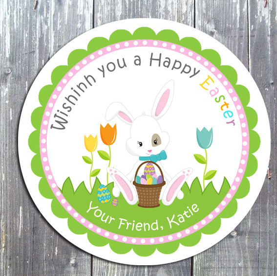 Easter Bunny Treat Birthday Party Favor Gift Tag -E-file