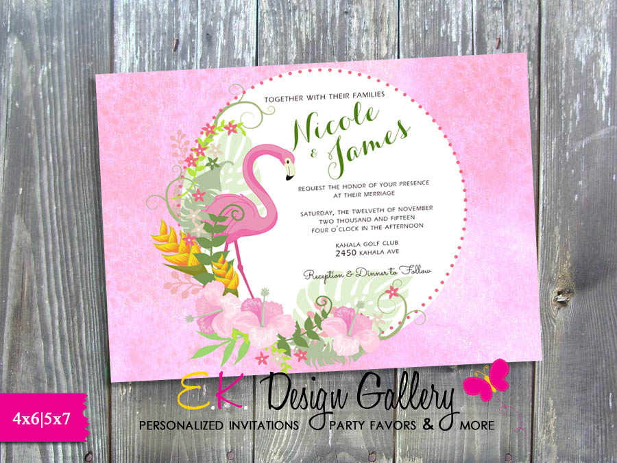 Flamingo Wedding Invitation Tropical Wedding Invite - Printed