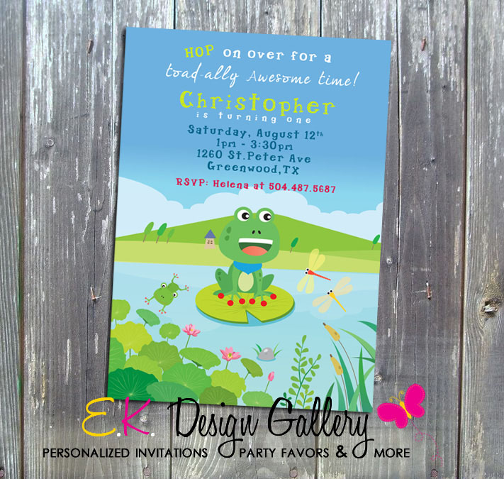 Frog Invitation Boy Birthday Party Personalized Invitation - Printed