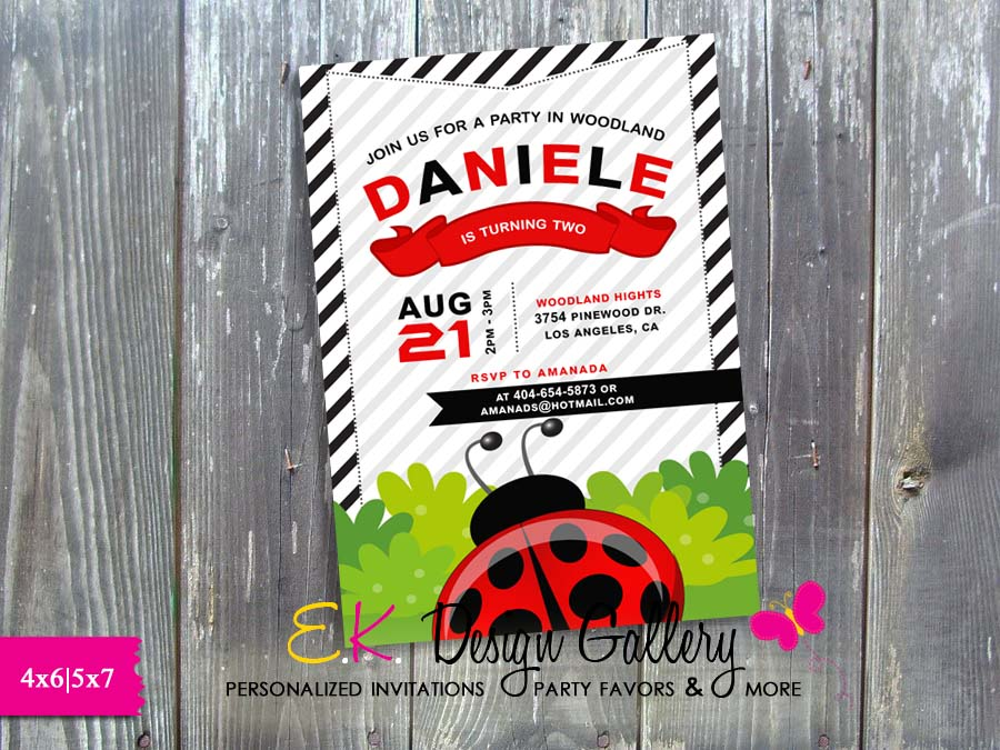 LadyBug Girl Birthday Party Invitation - Printed