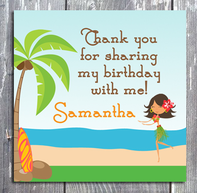Luau Thank You Gift Favor Tag - E-file
