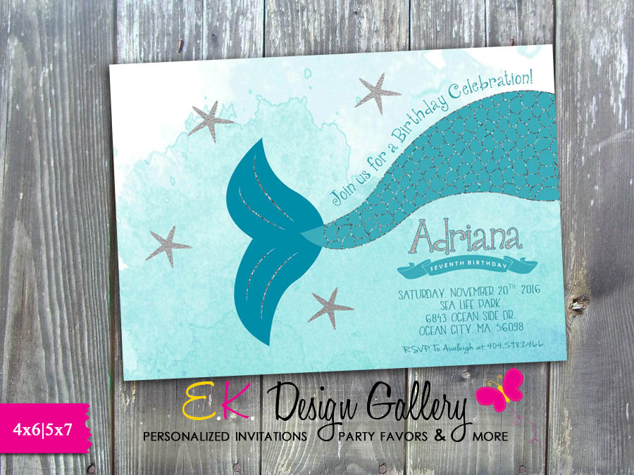 Mermaid Birthday Invitation Girl Birthday Party Mermaid Tail Personalized Invitation Silver Glitter Mermaid - Printed