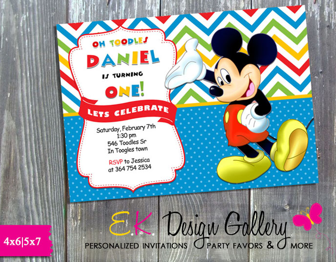 Mickey Mouse Birthday Party Invitation -Printed