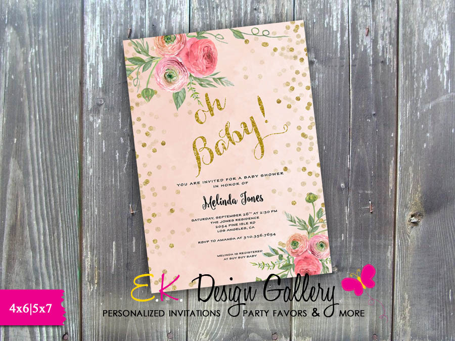 Oh Baby, Girl Baby, Baby Shower Floral, Gold Glitter Invitation - Printed