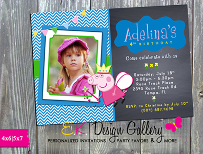 Peppa Pig Kids Photo Birthday Party Invitation - Printed