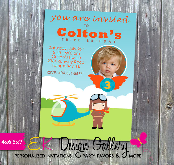 Little Pilot Birthday Party Printable Invitation - E-File