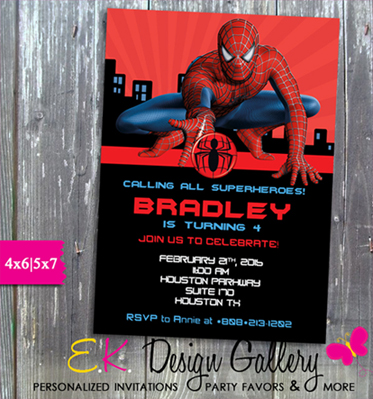 Spiderman Birthday Party Spider-man Invitation - Printed