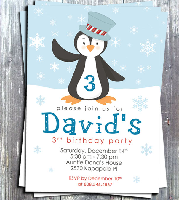 Winter Penguin Boy Birthday Party Invitation - E-file